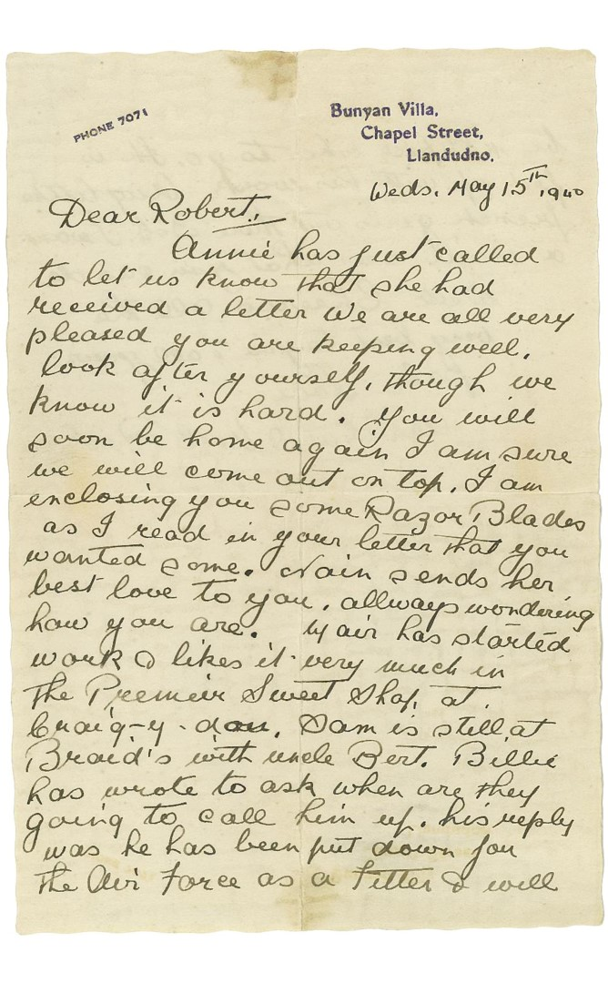 Letter to Gunner Edwards Page 1
