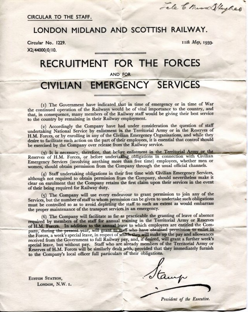 World War 2 Wartime Recruitment Letter