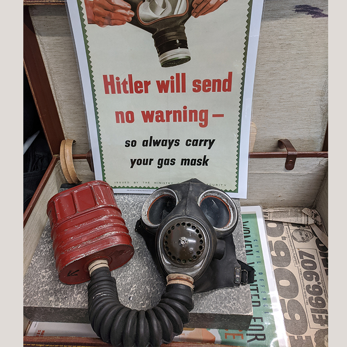 World War 2 Child Gas Mask with Poster